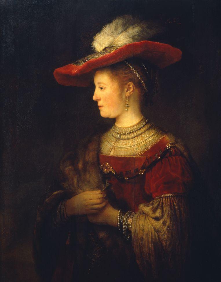 Saskia en profil in kostbaar kostuum (detail), 1633-1642. Beeld Ute Brunzel / Gemäldegalerie Alte Meister, Kassel