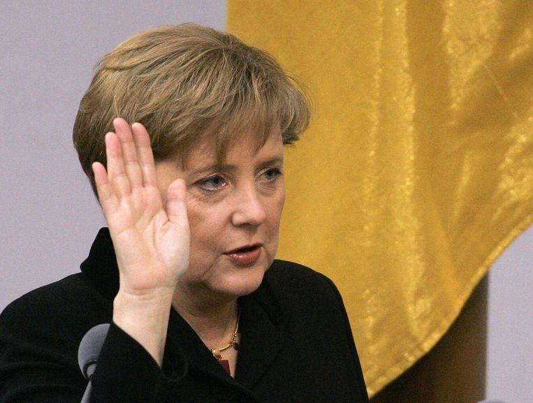 Angela Merkel bij haar aantreden als bondskanselier op 22 november 2005. Beeld .