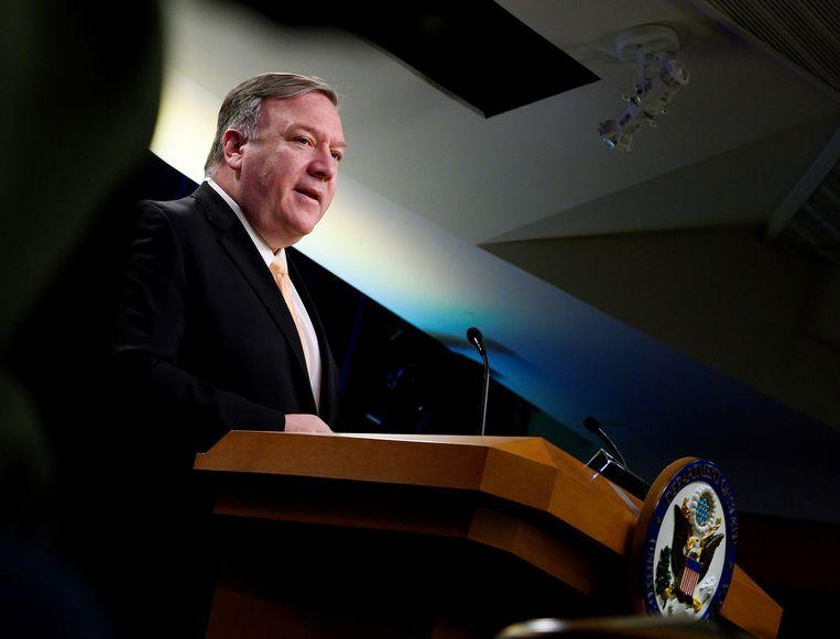 De Amerikaanse minister van Buitenlandse Zaken Pompeo.