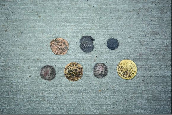 Er werden munten gevonden, daterend van de Romeinse tijd tot de achttiende eeuw.