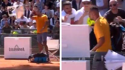 VIDEO. Kyrgios door het lint: Australische 'bad boy' gooit zelfs stoel het veld op en wordt gediskwalificeerd