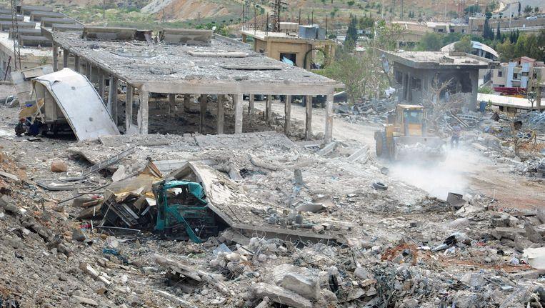 De ravage na de Israëlische luchtaanval op Damascus Beeld AP