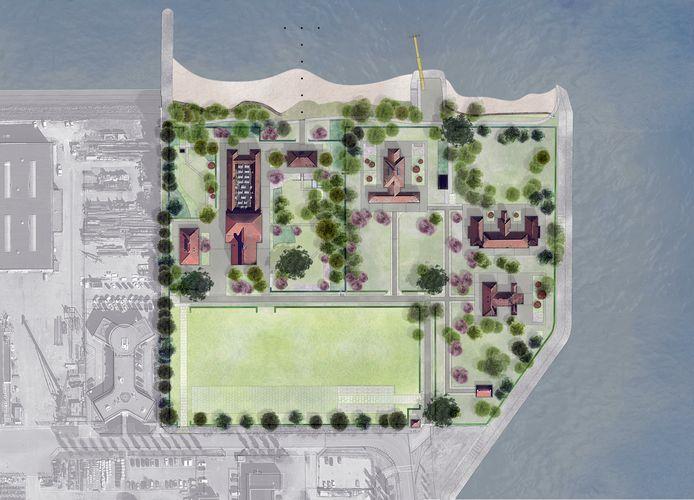 Plankaart van de 'nieuwe' landschapsinrichting van het Quarantaineterrein op Heijplaat.