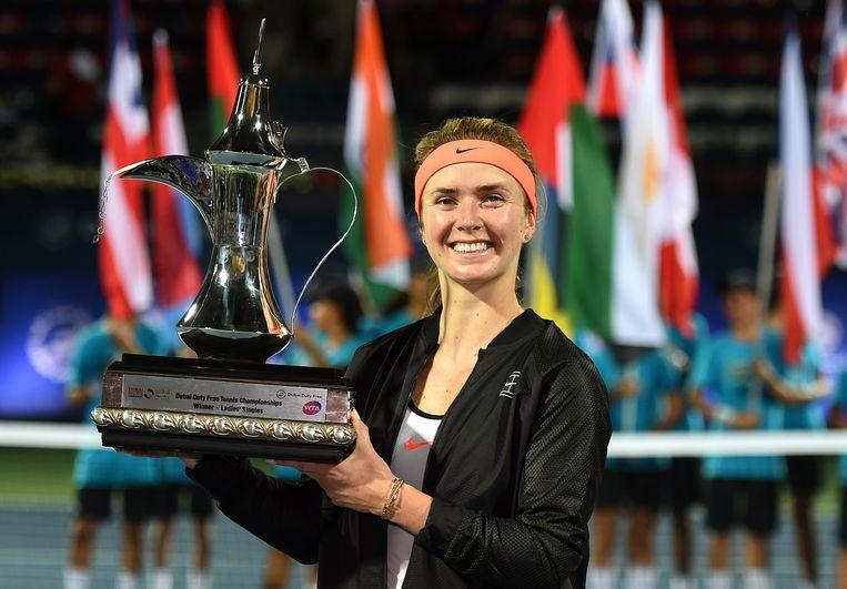 Elina Svitolina na haar triomf in Dubai.