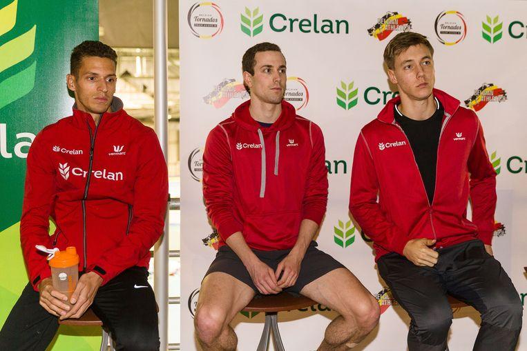 Dylan Borlee (links), Robin Vanderbemden (midden) en Julien Watrin (rechts)