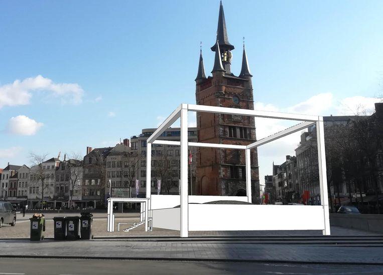Het springbed van 19 meter lang krijgt een plekje op de Grote Markt.