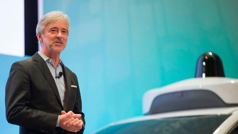 John Krafcik, CEO van Waymo tijdens een persconferentie in januari 2017. Beeld afp