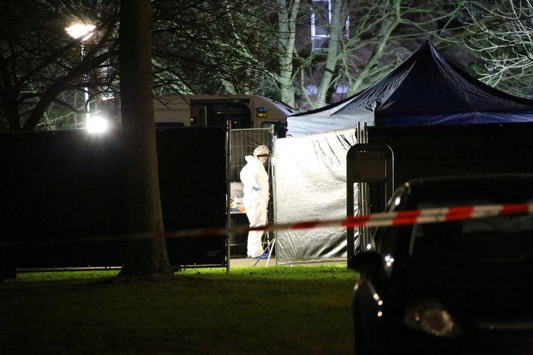 Forensisch onderzoek rond de moord op Siegmar Flaneur. Beeld anp
