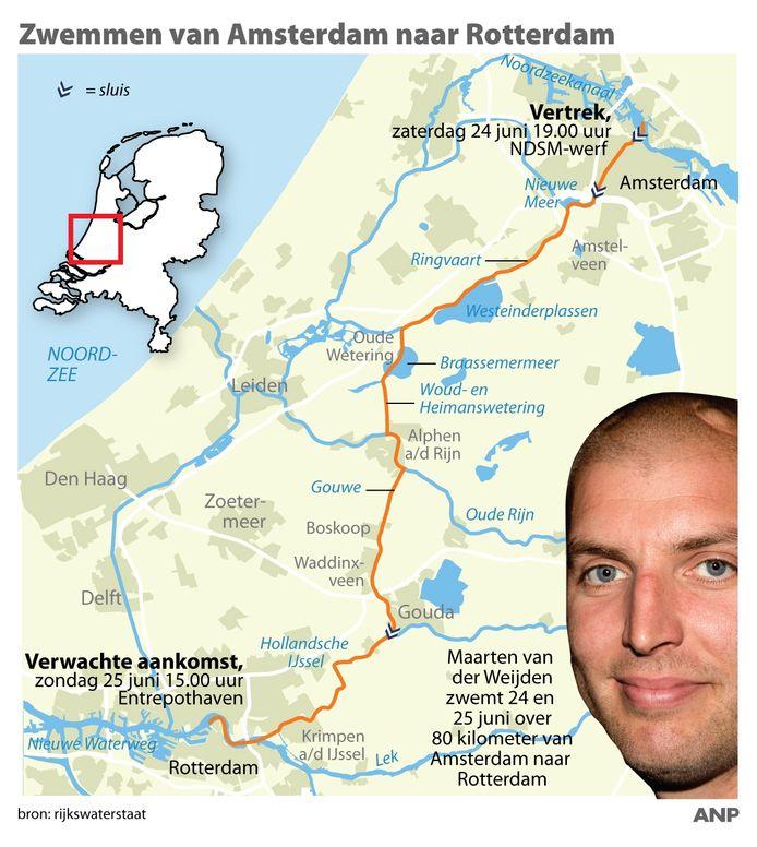 Maarten van der Weijden zwemt 24 en 25 juni een tocht over 80 kilometer van Amsterdam naar Rotterdam.