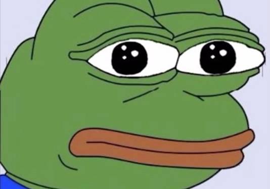 Pepe the Frog, een stripfiguur die populair is onder Trumop-aanhangers en gebruikt werd in de tweet aan Eichenwald.