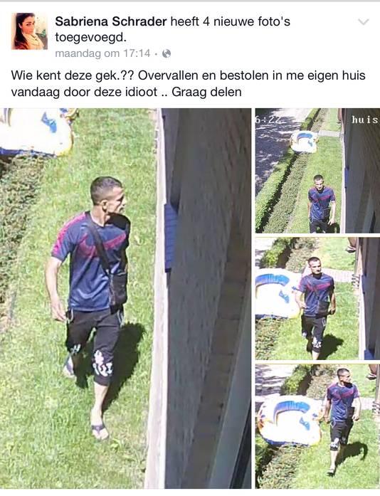 De Arnhemse Sabriena Schrader plaatste foto's van een mogelijke inbreker op Facebook.