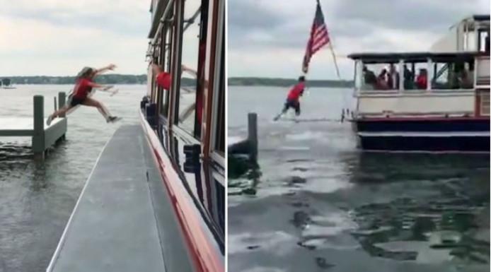 Een postbode springt op de postboot op Lake Geneva.