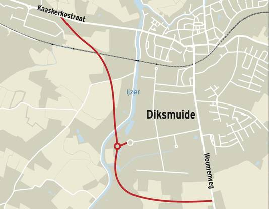 Een omleidingsweg tussen de Woumenweg en de Kaaskerkestraat zou een oplossing kunnen bieden voor de gevaarlijke verkeerssituatie.