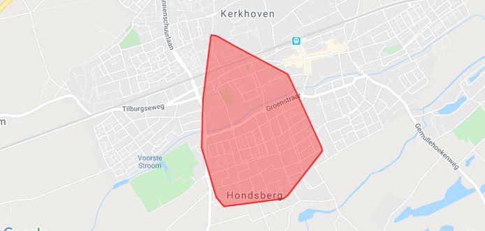 Het getroffen gebied in Oisterwijk.