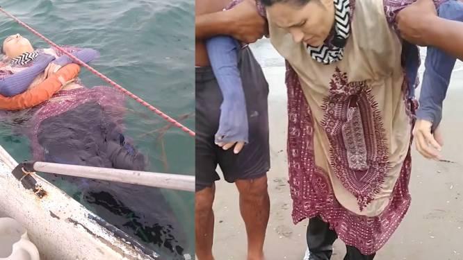 Vrouw die al twee jaar vermist is, na acht uur ronddobberen op zee teruggevonden