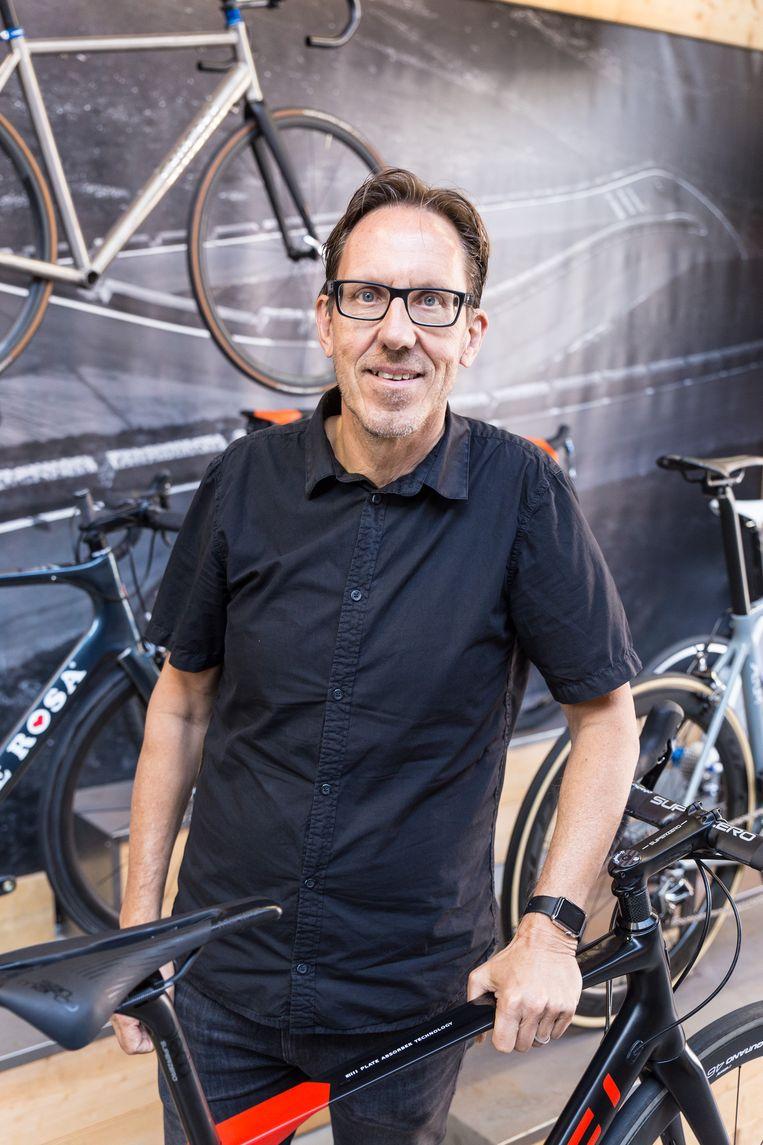 Gio Lippens , foto genomen bij de NOS-perspresentatie 2018 in de aanloop naar de Tour de France.  Beeld S. Heijdendael.