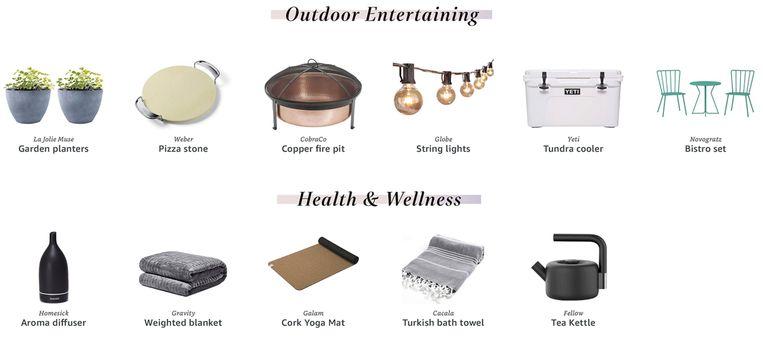 Jennifer maakte ook een verlanglijstje in de categorieën 'entertainment voor in de tuin' en 'gezondheid en wellness'.