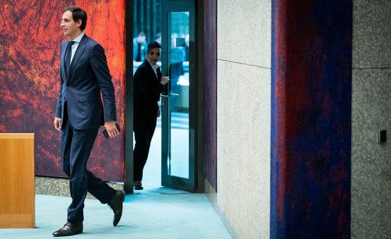 Minister van Financiën, Wopke Hoekstra tijdens de schorsing van de financiële beschouwingen in de Tweede Kamer.  Beeld null