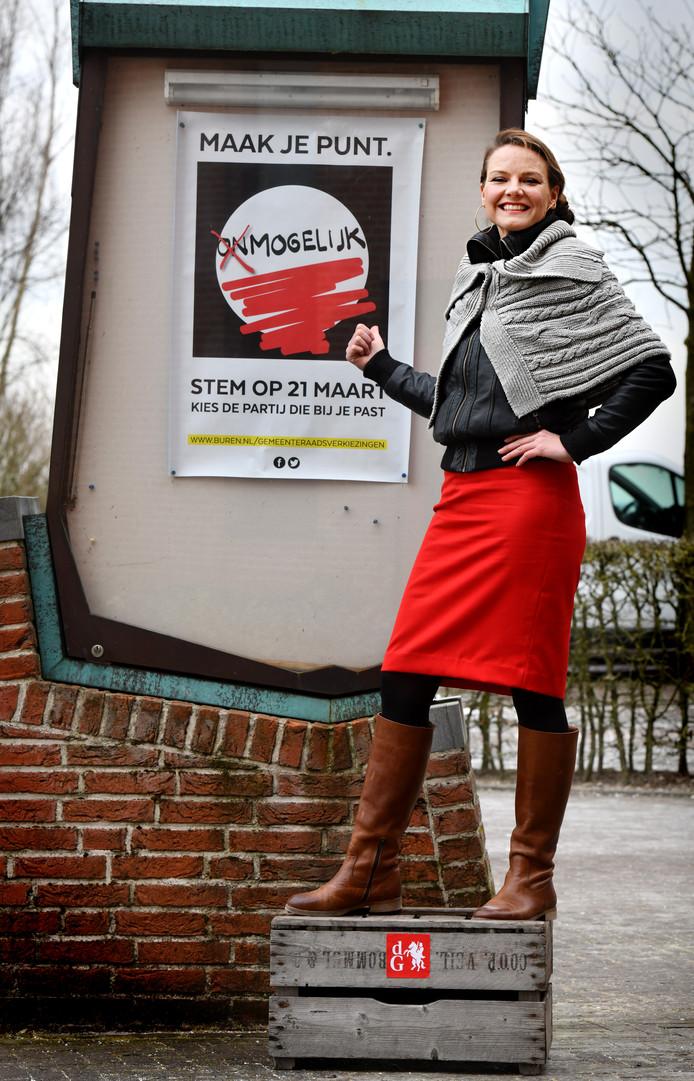 Nanda van Doremalen op het stemkistje.