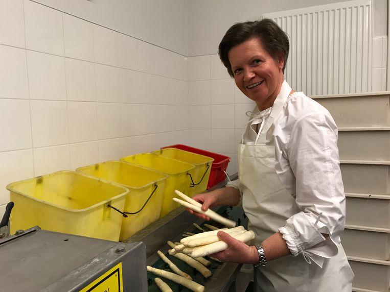 Ilse Vancraeynest werkt in het aspergeseizoen van 4 uur 's morgens tot 22 uur 's avonds.