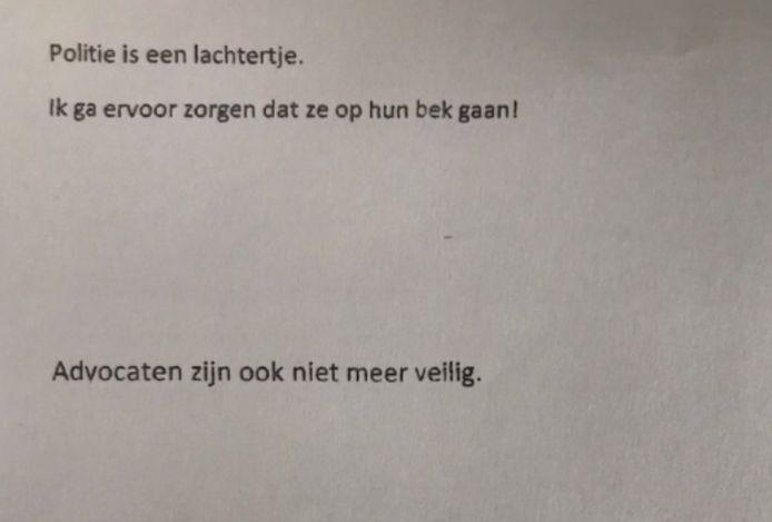 Een van de brieven die in het programma werden getoond.