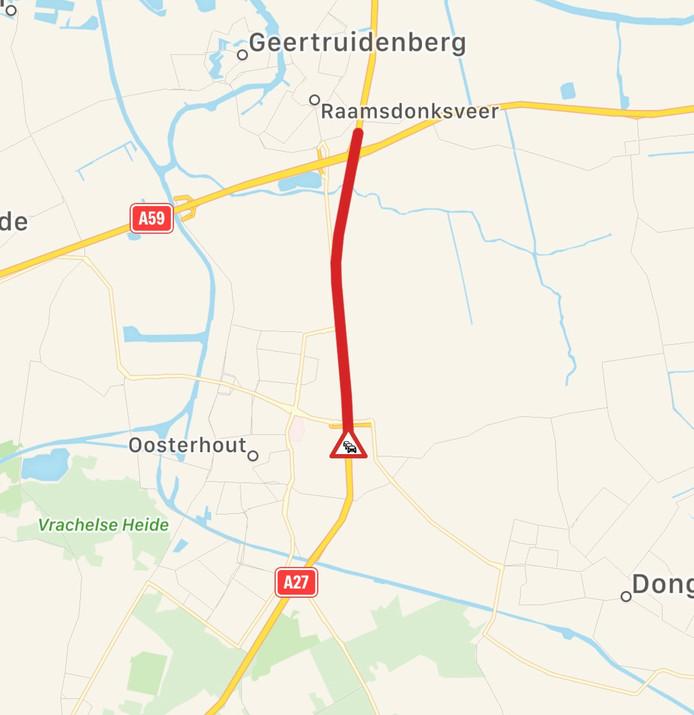 Ongeluk op A27 bij knooppunt Hooipolder.