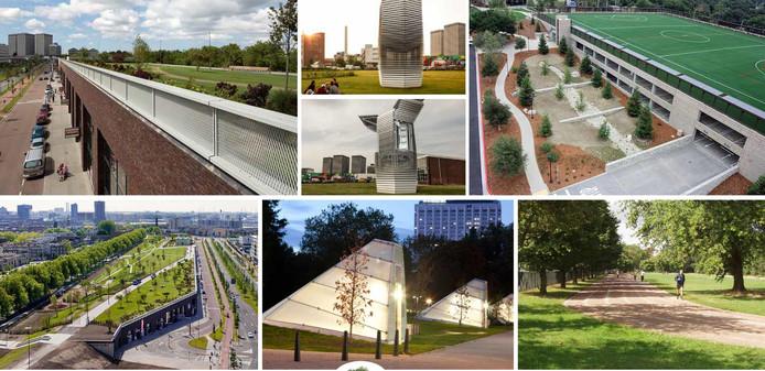 Artist impressions van het Park+Play bij de Jaarbeurs. Een voorbeeld van openbare ruimte die geschikt is voor sporten.