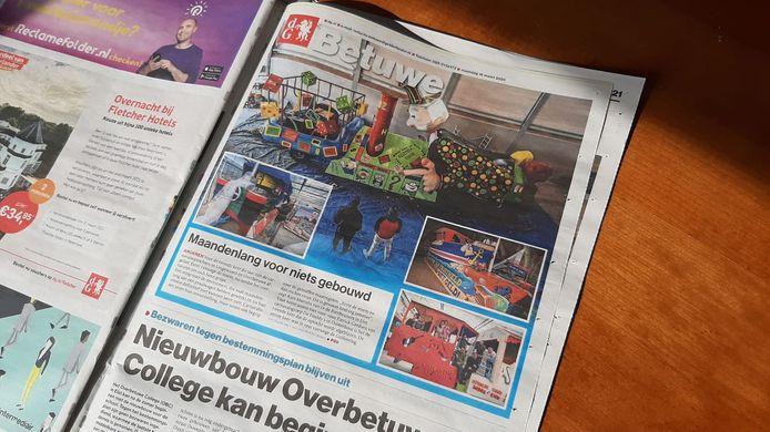 De editie Betuwe van De Gelderlander van maandag 16 maart 2020.