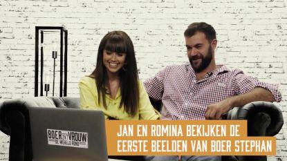 Jan en Romina bekijken de eerste beelden van 'Boer zkt. Vrouw'-kandidaat Stephan