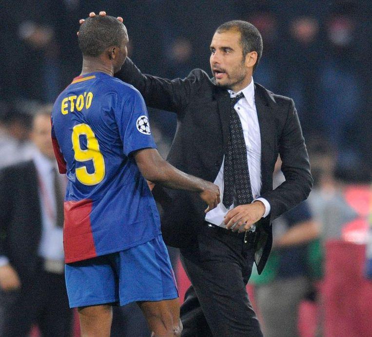 Samuel Eto'o met Pep Guardiola.