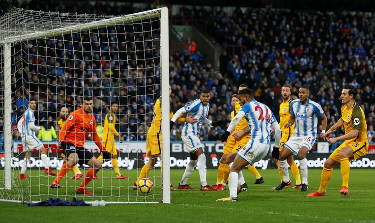 """Soccer Football - Premier League - Huddersfield Town vs Brighton & Hove Albion - John Smith's Stadium, Huddersfield, Britain - December 9, 2017   Huddersfield Town's Steve Mounie scores their first goal    Action Images via Reuters/Ed Sykes    EDITORIAL USE ONLY. No use with unauthorized audio, video, data, fixture lists, club/league logos or """"live"""" services. Online in-match use limited to 75 images, no video emulation. No use in betting, games or single club/league/player publications. Please contact your account representative for further details."""