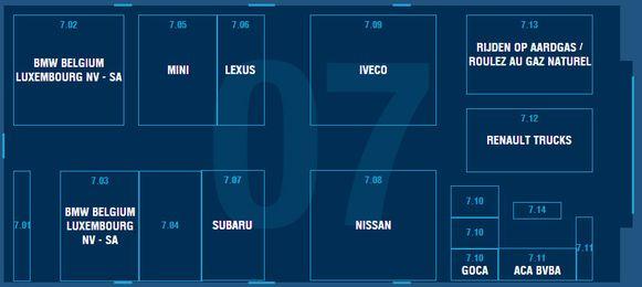 Paleis 7: ARGB - BMW Belux - Caliber - Car-Pass - Dezent - Dotz - Fosgate - Goca - Hifonics - Iveco - Lexus - Mini - Nissan - Pioneer - Renault Trucks - Rockford - Subaru - Zen Zones