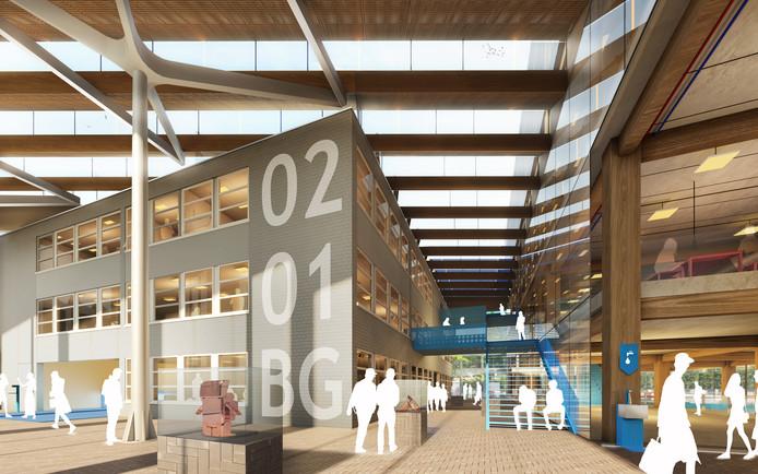 Impressie van de entreehal van de nieuwbouw van het Koning Willem I College