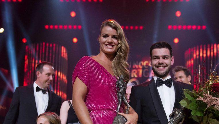 Dafne Schippers en Sjinkie Knegt waren bij het Sportgala van 2015 de winnaars. Beeld anp