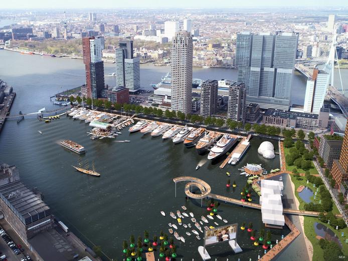De initiatiefnemers voor de jachthaven presenteerden deze zomer hun plan voor de Rijnhaven met woningbouw, een park, een uitzichtpunt en een strand.