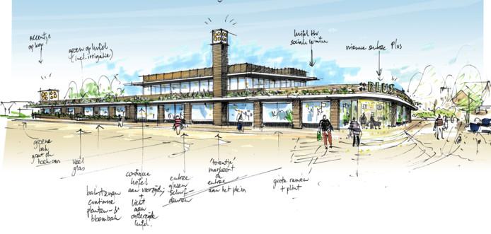 Een schets van het ontwerp van de uitbreiding van de Plus supermarkt in Wezep.