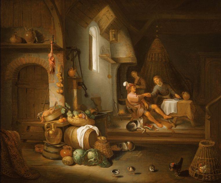 Het schilderij uit een van de eerste afleveringen van Oog voor Detail: Hendrick Martensz Sorgh, Interieur met Jacob en Esau, 1662. Links: detail. Beeld Hoogsteder & Hoogsteder Den Haag