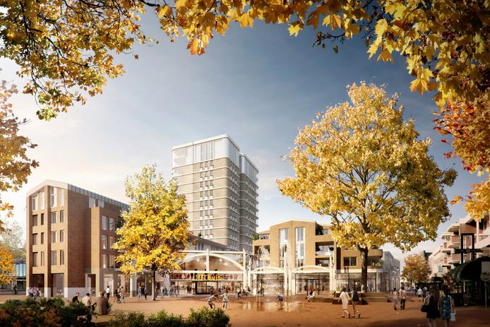 Vooral vanaf de kant van De Wal zal zichtbaar worden dat er 19 extra appartementen aan het plan Walkwartier zijn toegevoegd. Dit is een inmiddels gedateerde tekening.