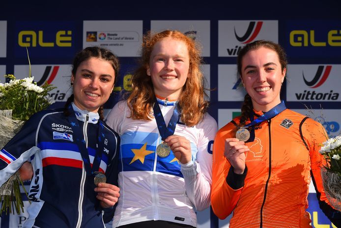 Shirin van Anrooij (rechts) werd vorige week derde op het EK voor juniores. Zaterdag werd ze tiende bij de elites tijdens de World Cup in Tabor.