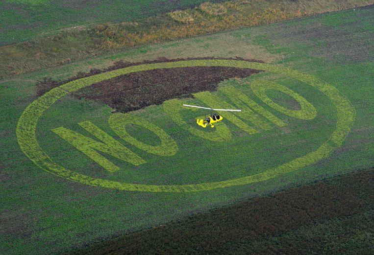 Deze boodschap leit Greenpeace in 2007 op een Oostenrijkse akker verschijnen Geen GMO. GMO staat voor Genetically Modified Organism, genetisch gemodificeerd voedsel. Beeld afp