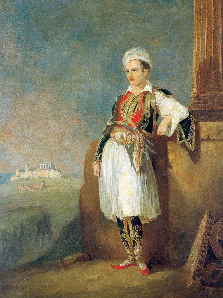 Een schilderij van Lord Byron in Griekse kleding, vermoedelijk geschilderd tijdens de laatste fase van zijn leven. Beeld afp