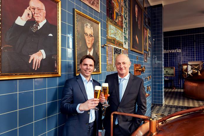 Jan-Renier Swinkels en zijn opvolger als bestuursvoorzitter bij Swinkels Family Brewers (voormalig Bavaria), Peer Swinkels.
