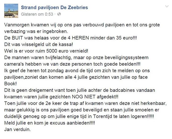 facebookbericht van De Zeebries