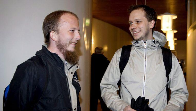 Pirate Bay-oprichters Gottfrid Svartholm Warg en Peter Sunde (links). Beeld epa