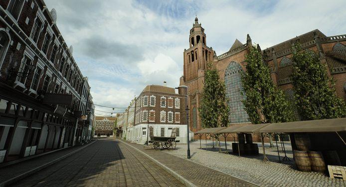 De vooroorlogse Eusebiuskerk, gezien vanuit de Turfstraat.