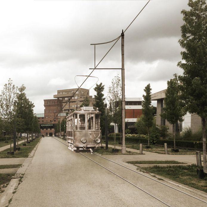 De oude tram op de Museumlaan: een beeldbewerking van hoe het zou kunnen worden.
