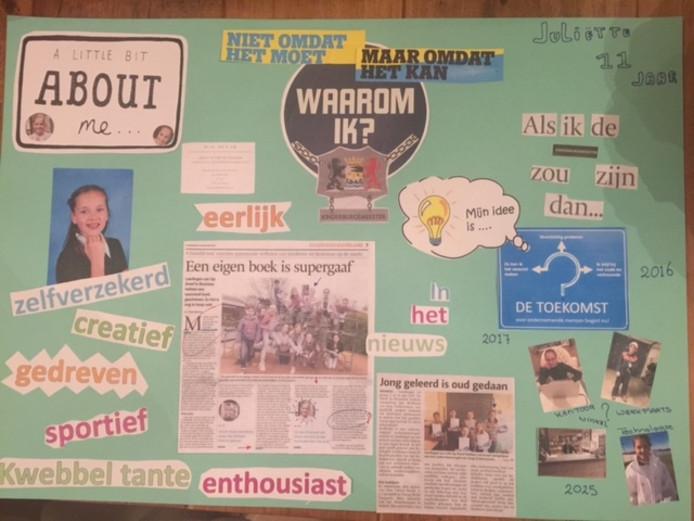 De collage die Juliette had gemaakt voor haar inschrijving.
