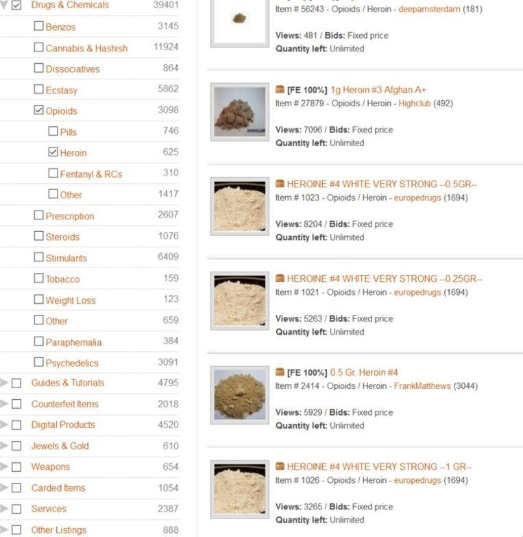 Drugshandel AlphaBay Market is een soort eBay. Beeld .