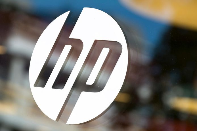 Het logo van computer- en printerfabrikant HP.