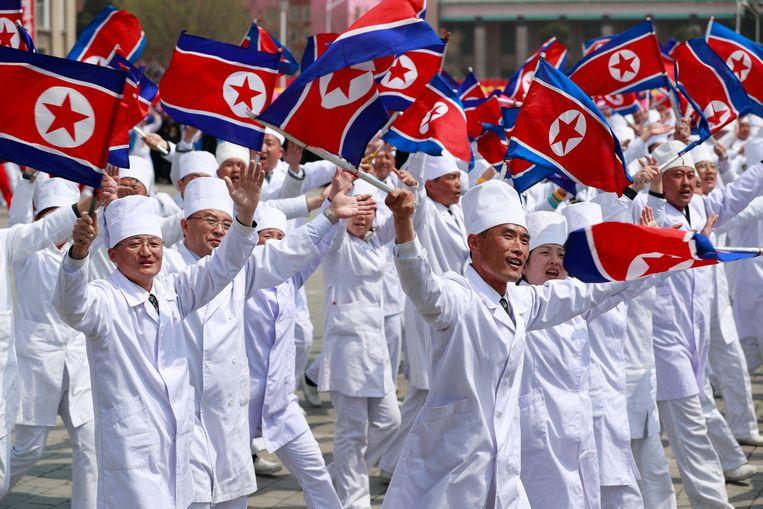 Noord-Koreaanse vlaggen. Beeld EPA